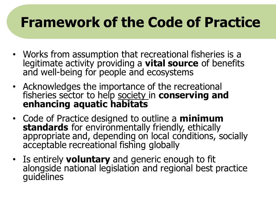 Framework of the Code of Practice