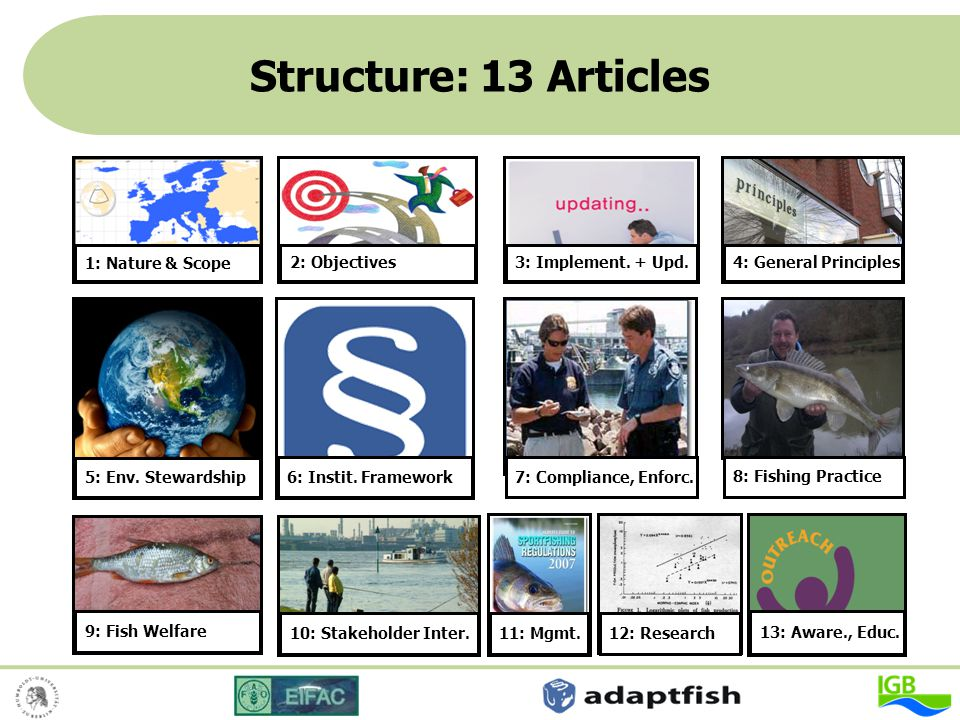 Structure: 13 Articles 2: Objectives 3: Implement. + Upd.