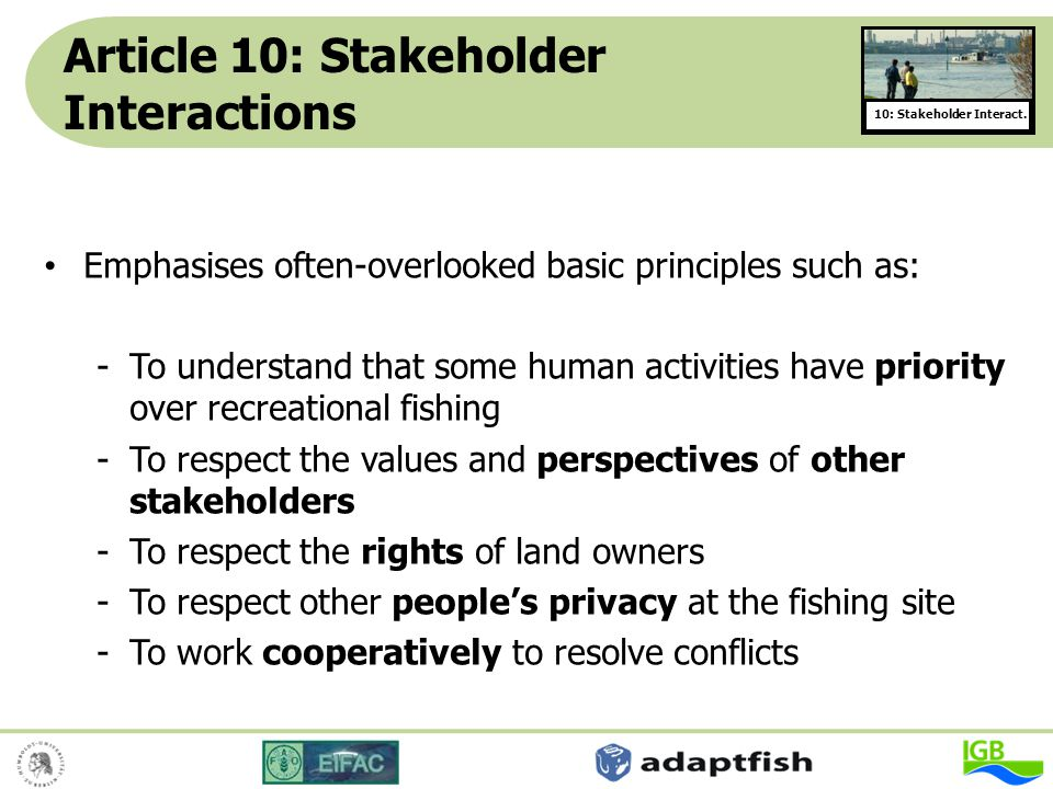 Article 10: Stakeholder Interactions