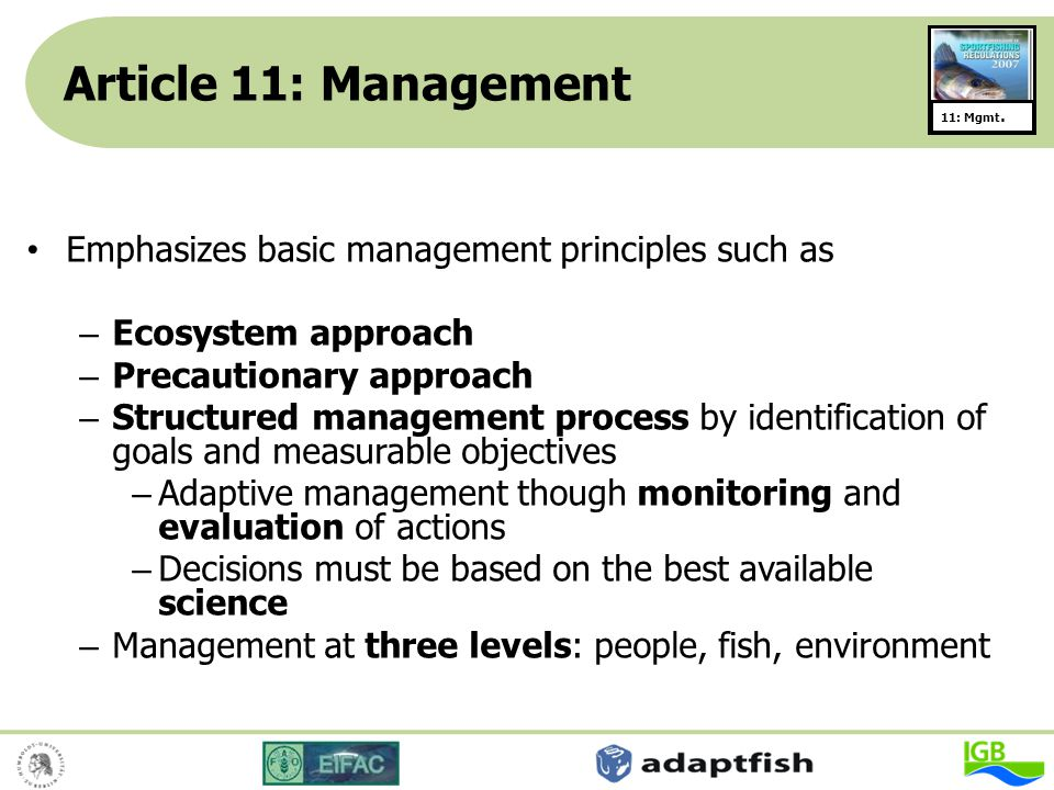 Article 11: Management Emphasizes basic management principles such as