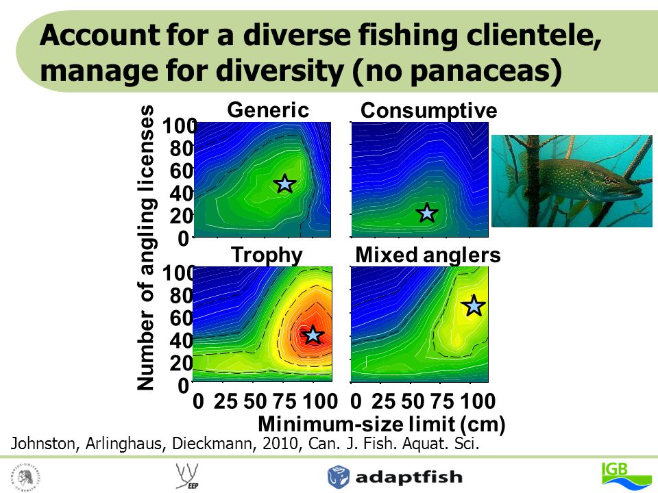 Account for a diverse fishing clientele, manage for diversity (no panaceas)