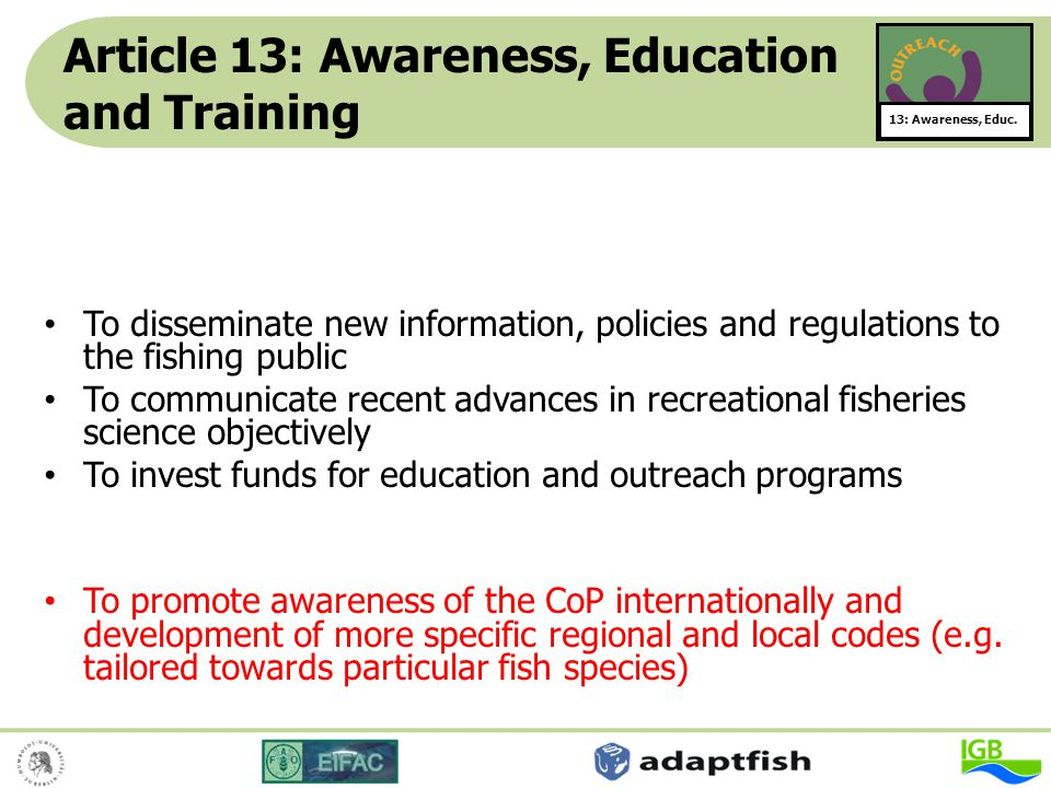 Article 13: Awareness, Education and Training