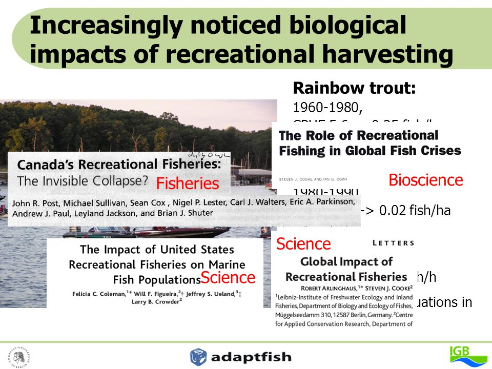 Increasingly noticed biological impacts of recreational harvesting