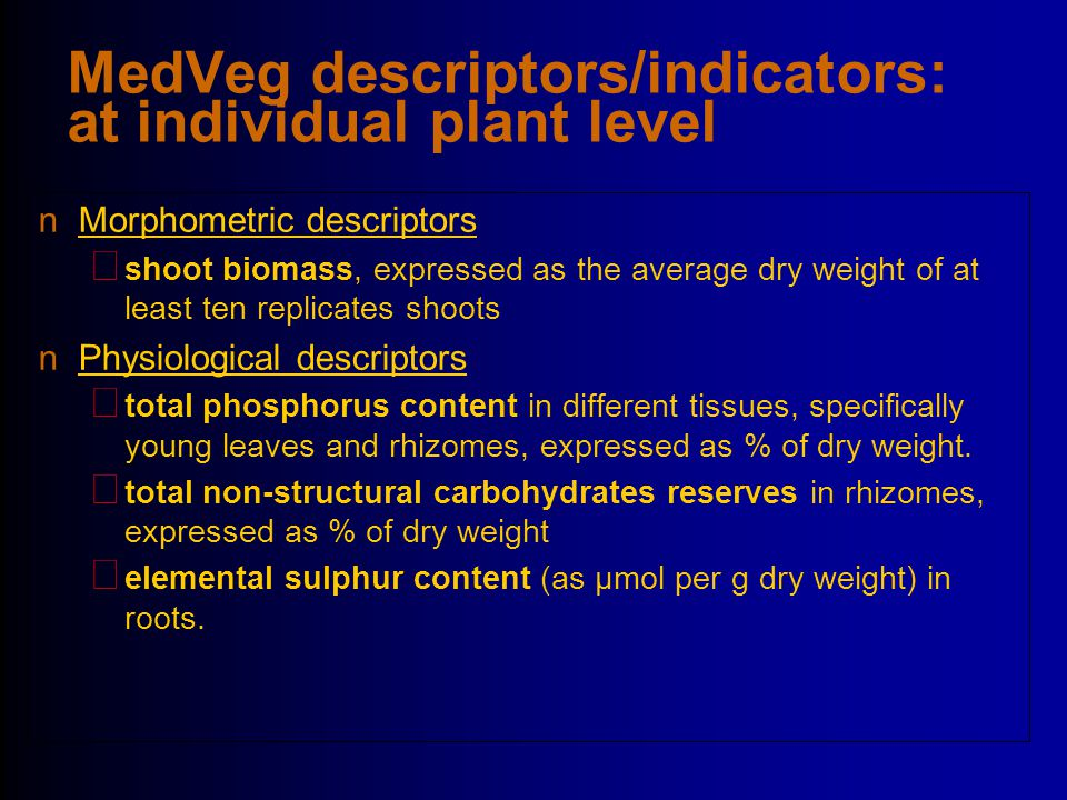 MedVeg descriptors/indicators: at individual plant level