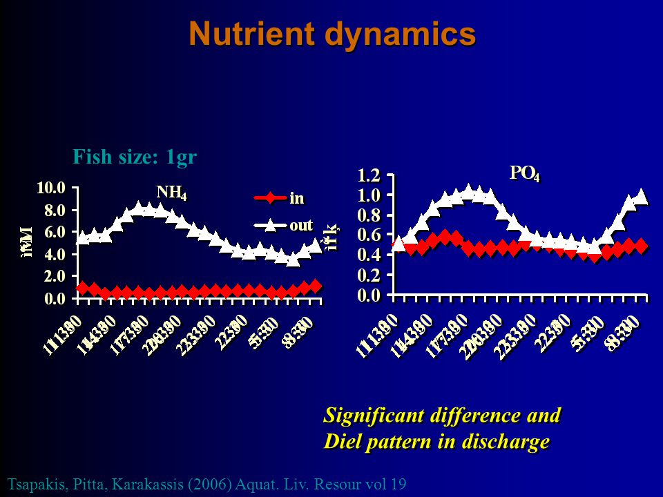 Nutrient dynamics Fish size: 1gr Significant difference and