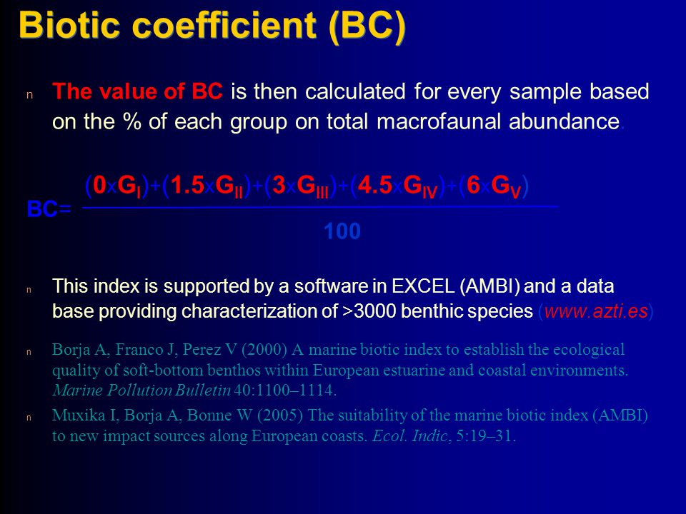 Biotic coefficient (BC)