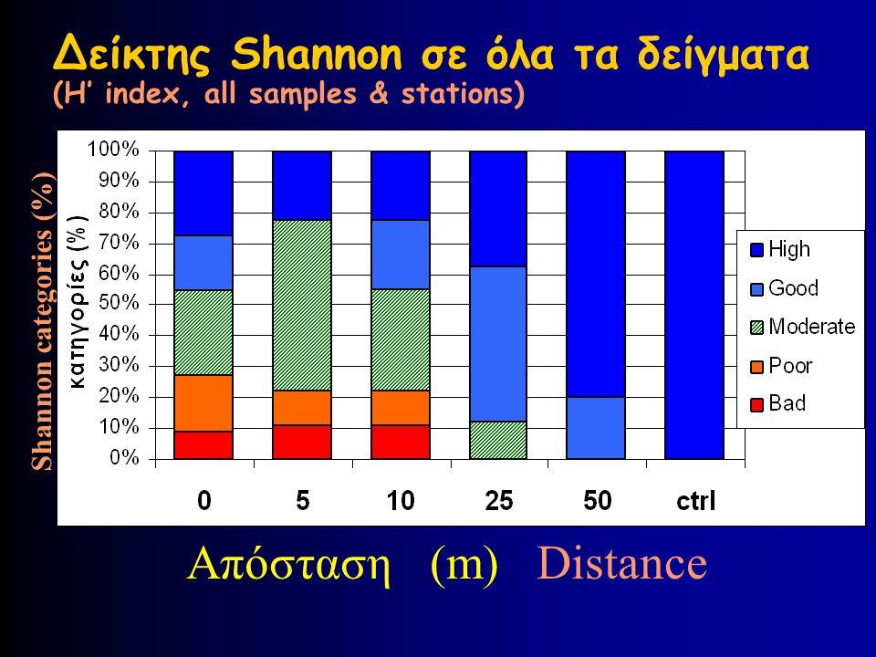 Δείκτης Shannon σε όλα τα δείγματα (H' index, all samples & stations)