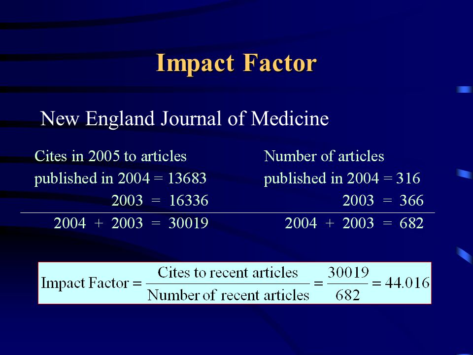 Impact Factor New England Journal of Medicine