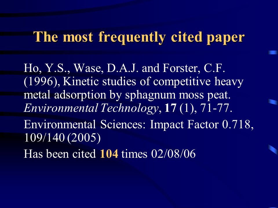 The most frequently cited paper