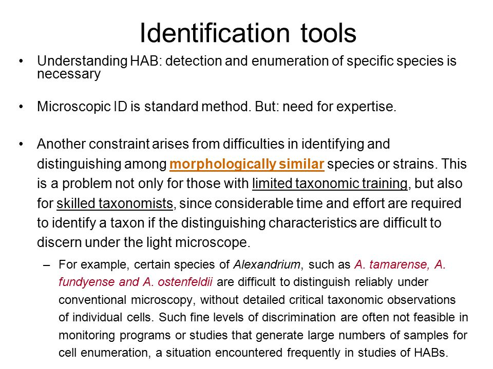 Identification tools Understanding HAB: detection and enumeration of specific species is necessary.