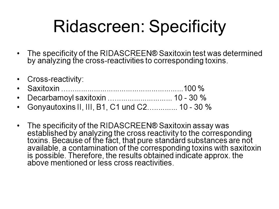 Ridascreen: Specificity