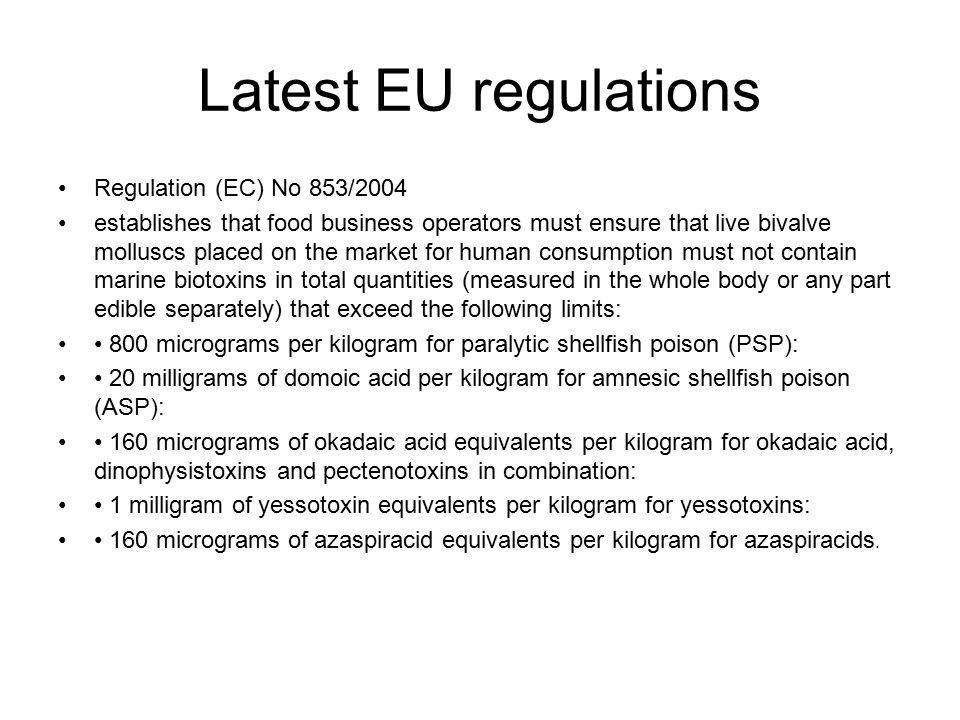 Latest EU regulations Regulation (EC) No 853/2004