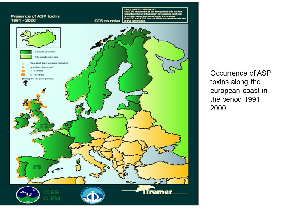 Occurrence of ASP toxins along the european coast in the period 1991-2000