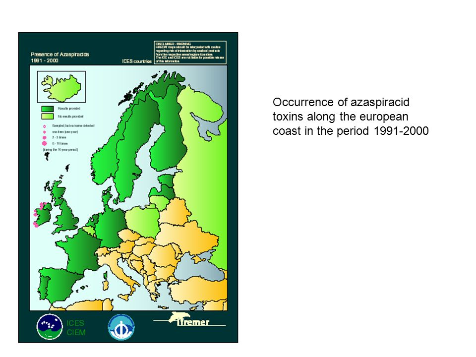 Occurrence of azaspiracid toxins along the european coast in the period 1991-2000