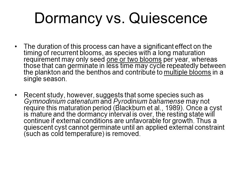 Dormancy vs. Quiescence