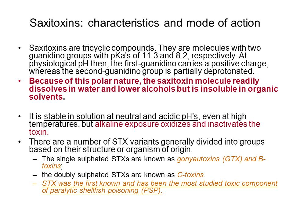 Saxitoxins: characteristics and mode of action