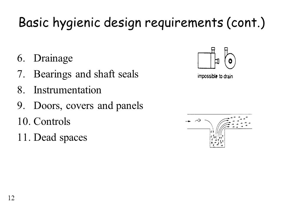 Basic hygienic design requirements (cont.)