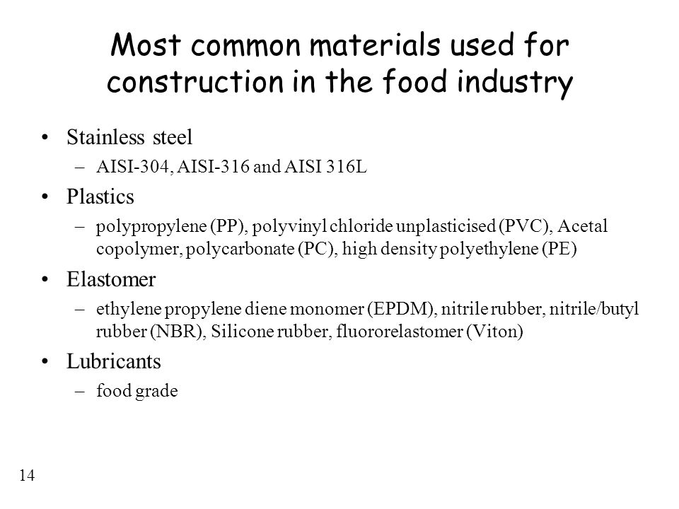 Most common materials used for construction in the food industry