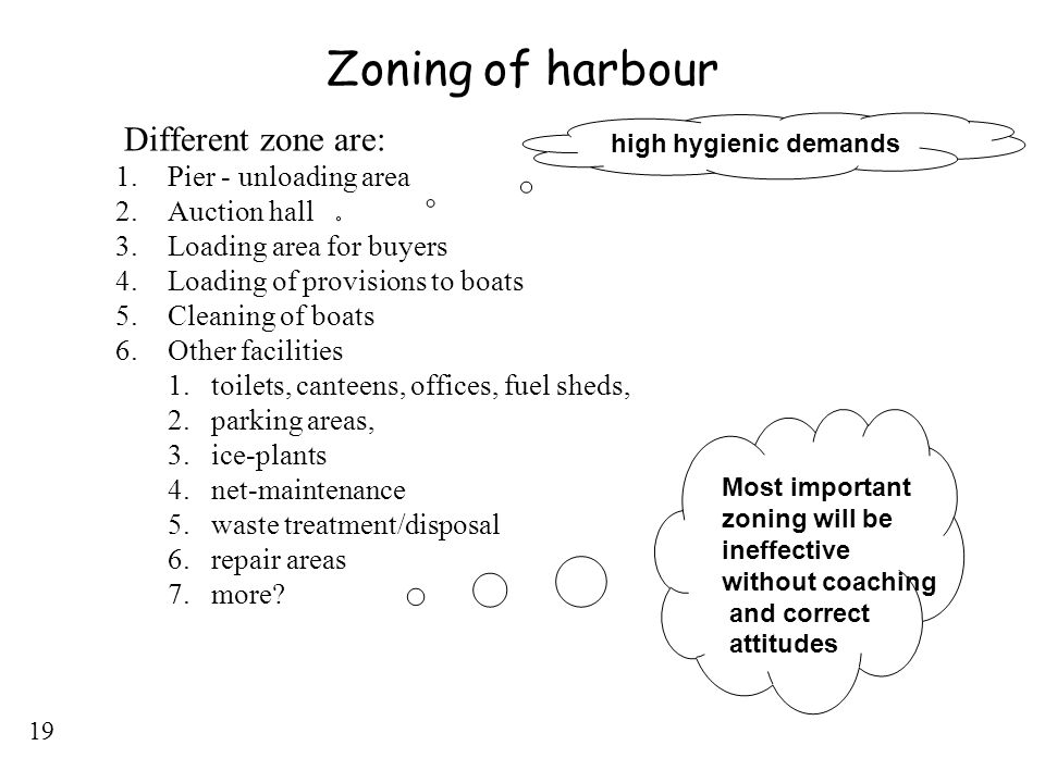 Zoning of harbour Different zone are: Pier - unloading area