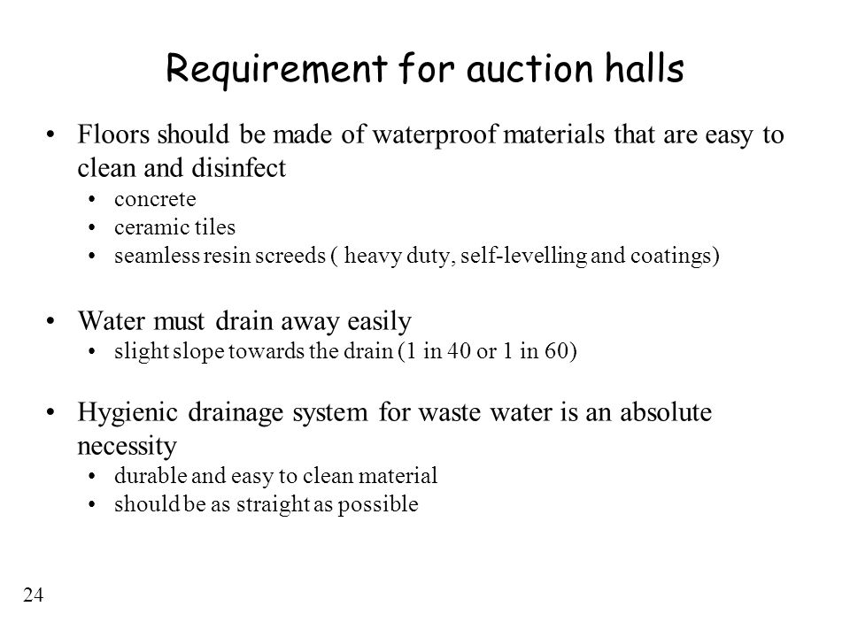 Requirement for auction halls