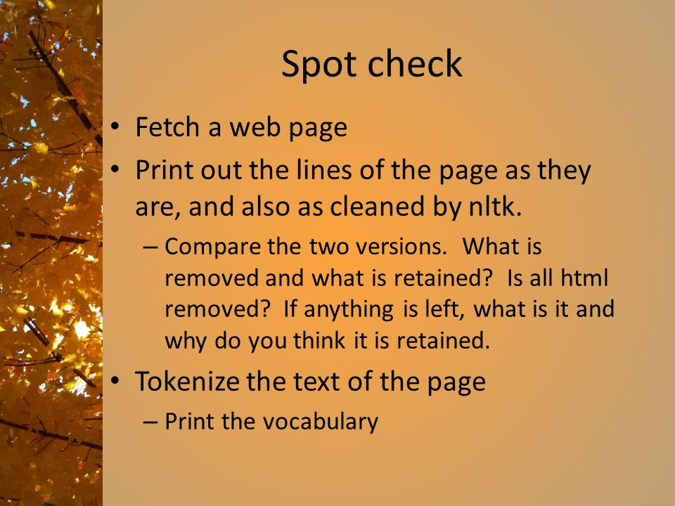 Spot check Fetch a web page