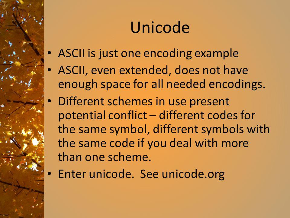 Unicode ASCII is just one encoding example