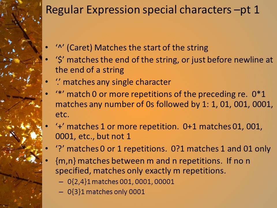 Regular Expression special characters –pt 1