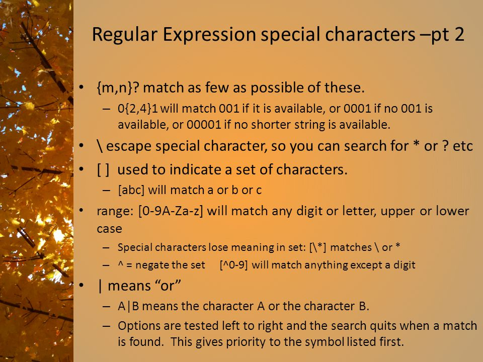 Regular Expression special characters –pt 2
