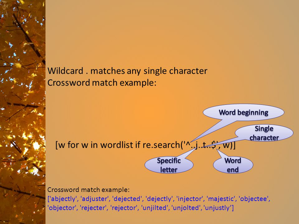 Wildcard . matches any single character Crossword match example: