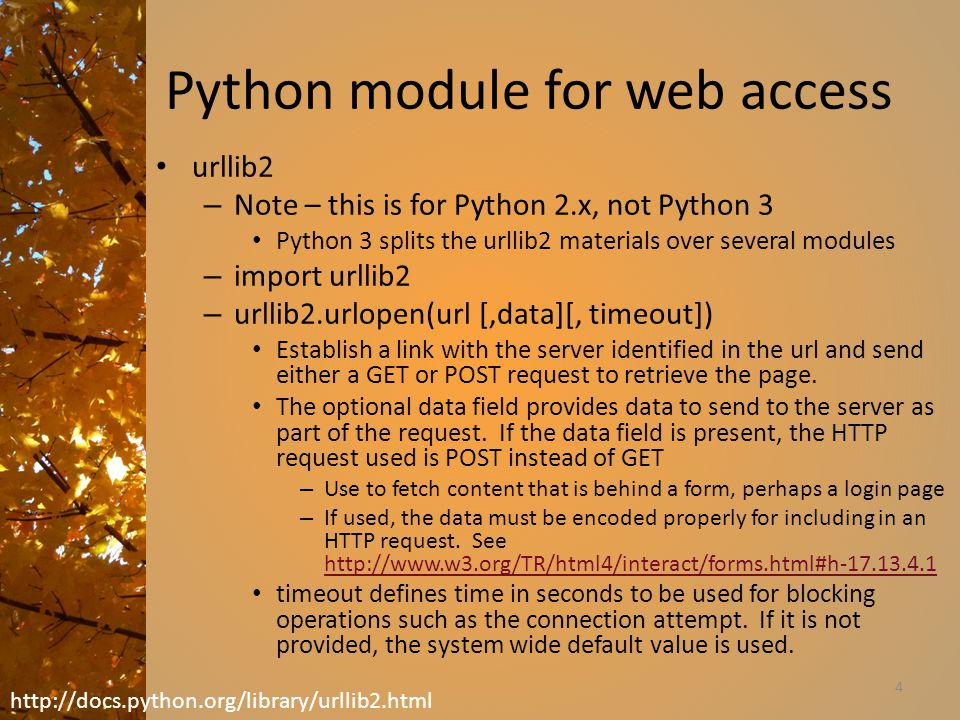Python module for web access