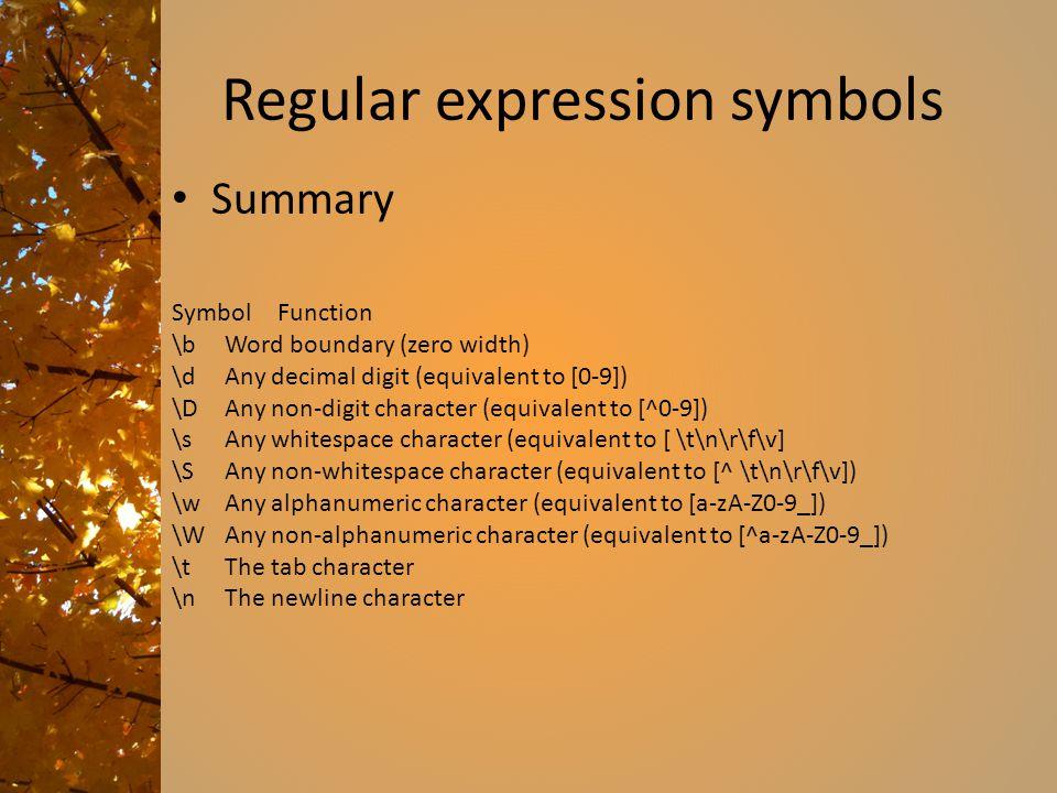 Regular expression symbols