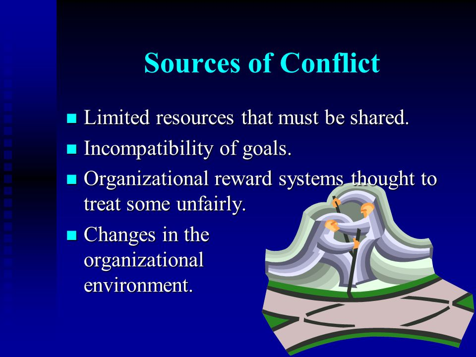 Sources of Conflict Limited resources that must be shared.