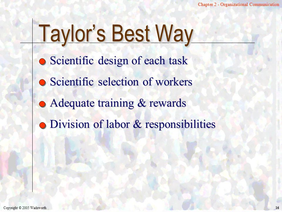 Taylor's Best Way Scientific design of each task