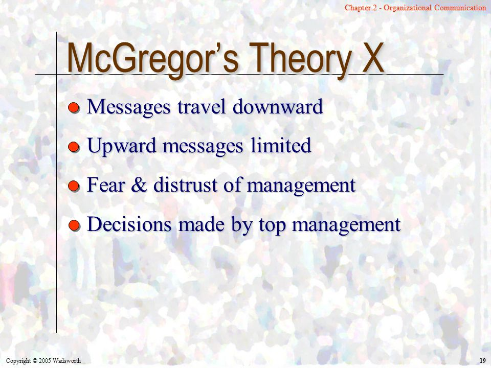 McGregor's Theory X Messages travel downward Upward messages limited