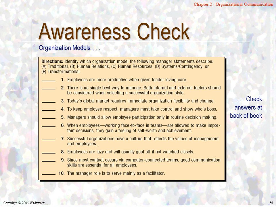 Awareness Check Organization Models . . .