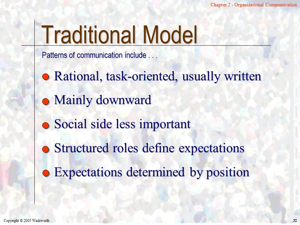 Traditional Model Rational, task-oriented, usually written