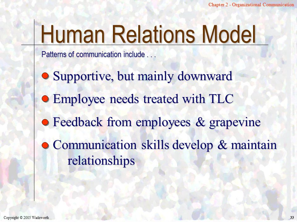 Human Relations Model Supportive, but mainly downward