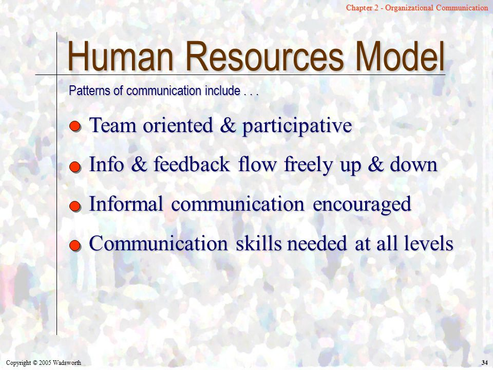 Human Resources Model Team oriented & participative