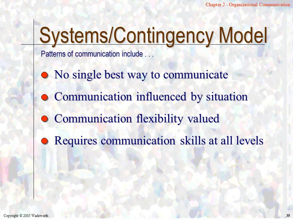 Systems/Contingency Model