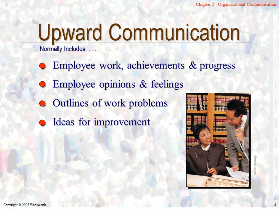 Upward Communication Employee work, achievements & progress