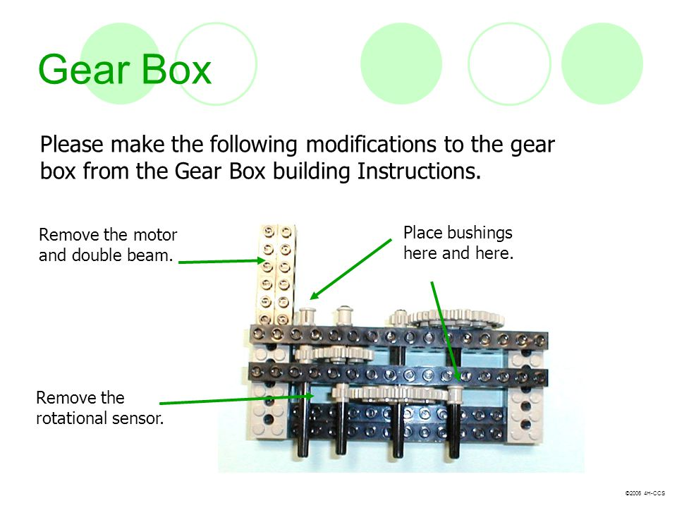 Gear Box Please make the following modifications to the gear