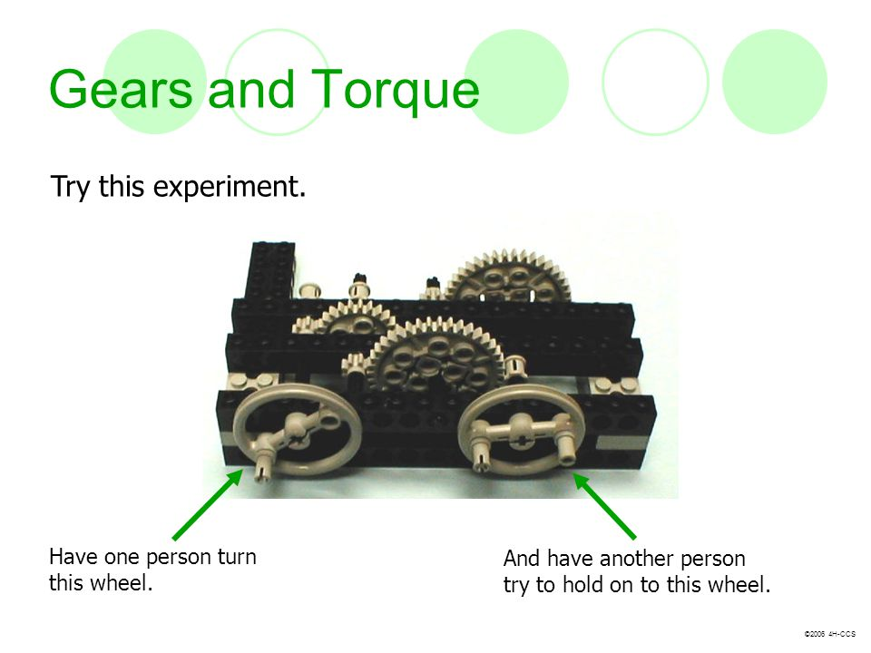 Gears and Torque Try this experiment. Have one person turn