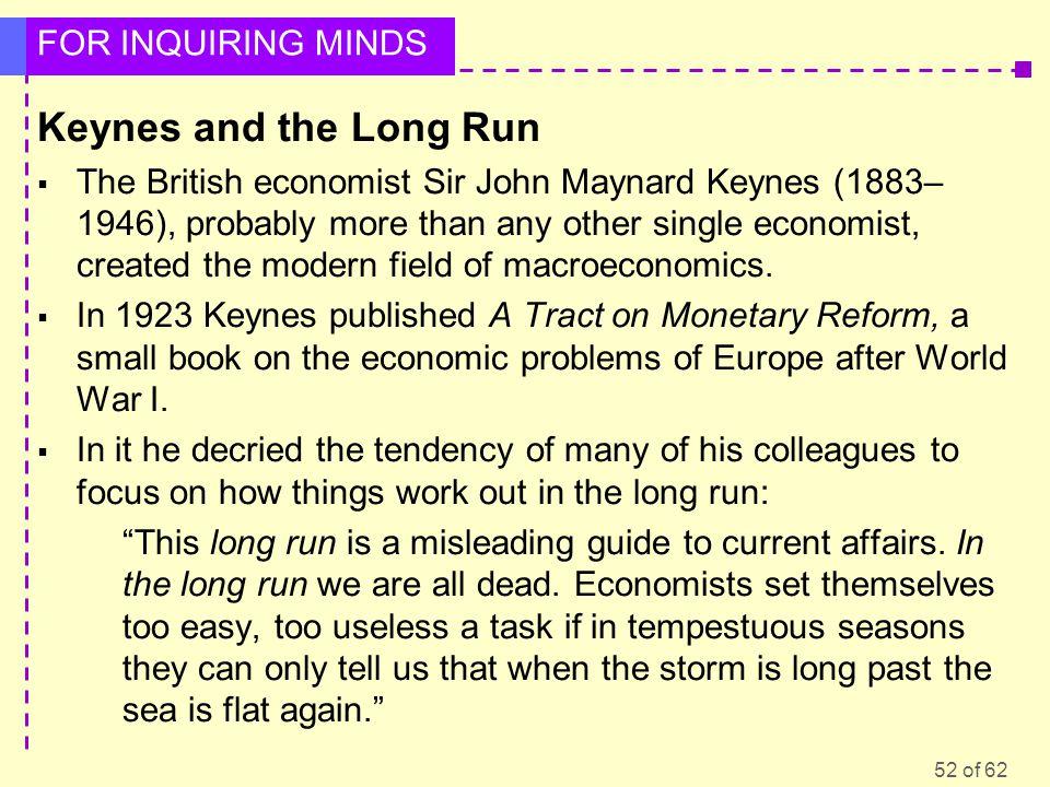 Keynes and the Long Run