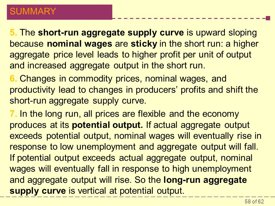 5. The short-run aggregate supply curve is upward sloping because nominal wages are sticky in the short run: a higher aggregate price level leads to higher profit per unit of output and increased aggregate output in the short run.