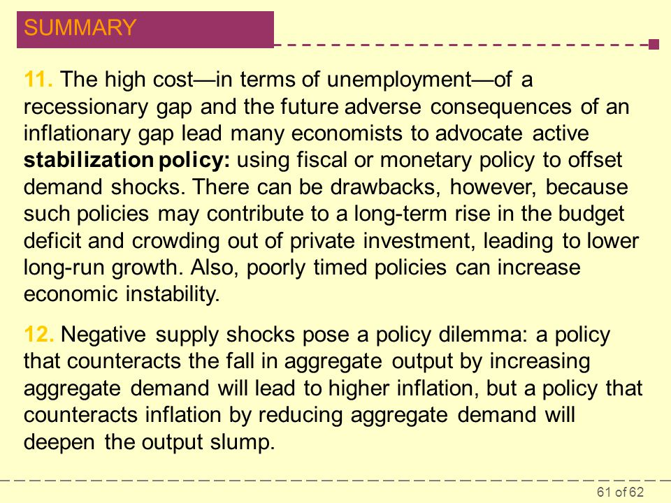 11. The high cost—in terms of unemployment—of a recessionary gap and the future adverse consequences of an inflationary gap lead many economists to advocate active stabilization policy: using fiscal or monetary policy to offset demand shocks. There can be drawbacks, however, because such policies may contribute to a long-term rise in the budget deficit and crowding out of private investment, leading to lower long-run growth. Also, poorly timed policies can increase economic instability.