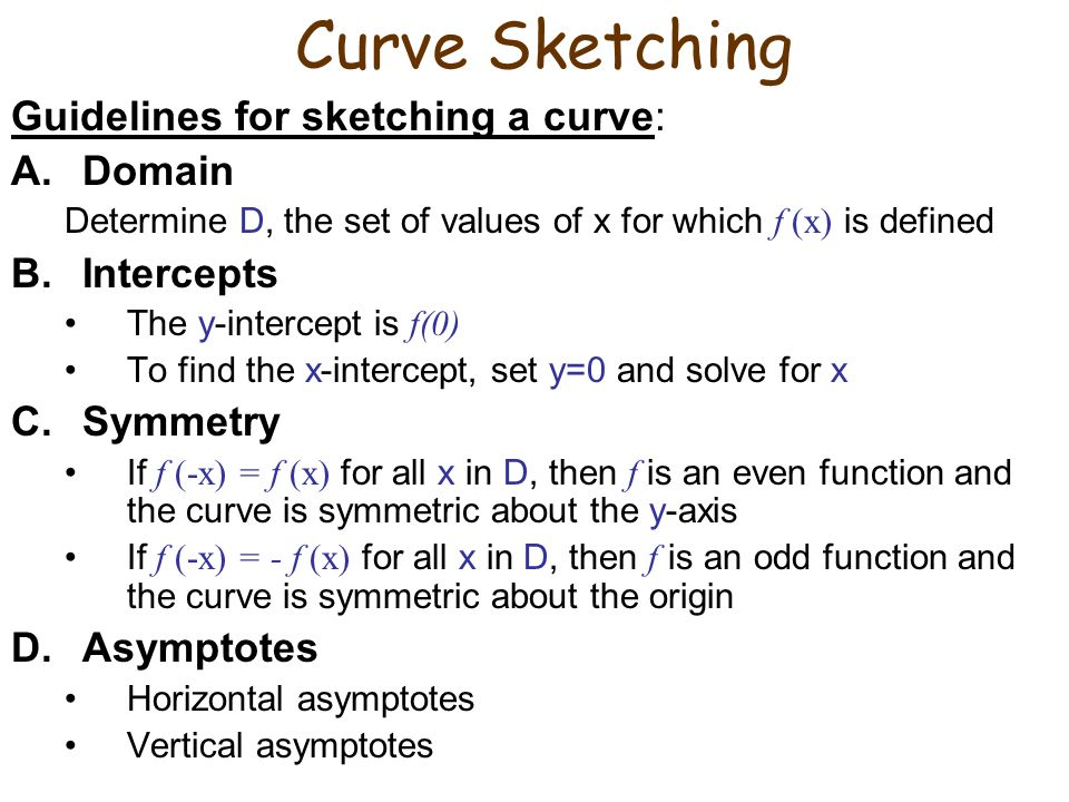 Curve Sketching Guidelines for sketching a curve: Domain Intercepts