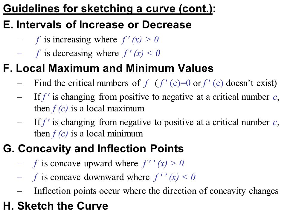 Guidelines for sketching a curve (cont.):