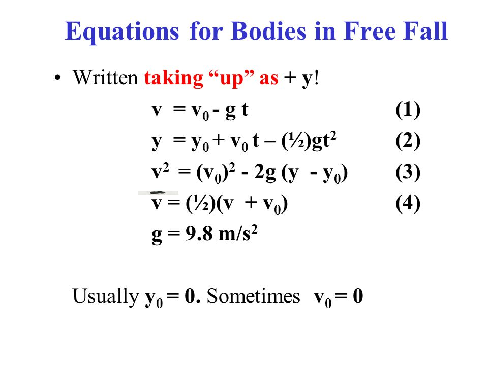 Equations for Bodies in Free Fall