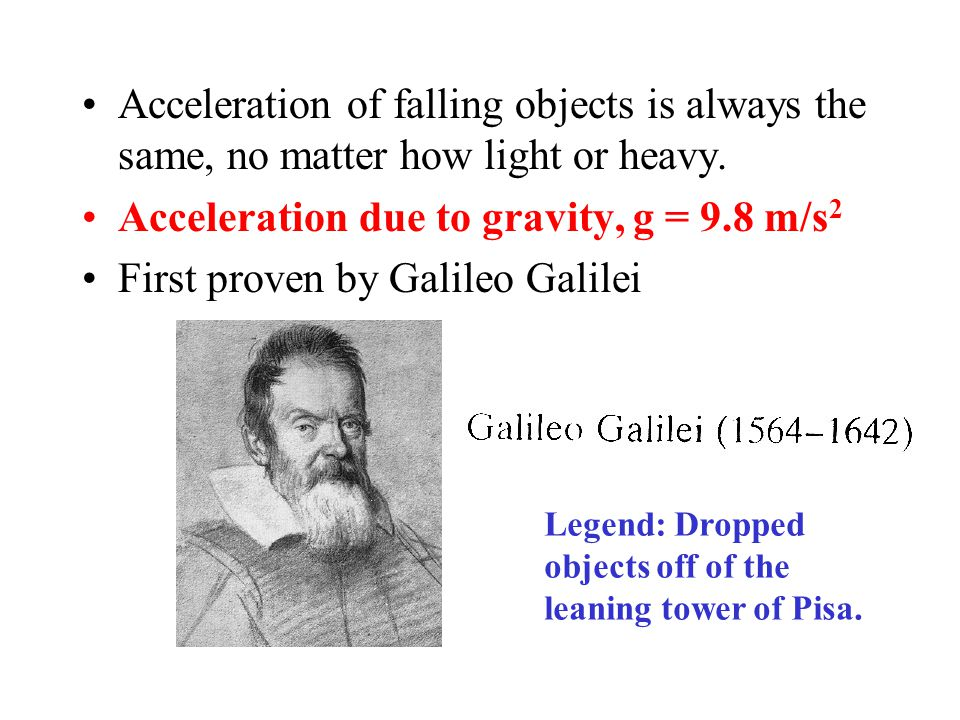 Acceleration due to gravity, g = 9.8 m/s2
