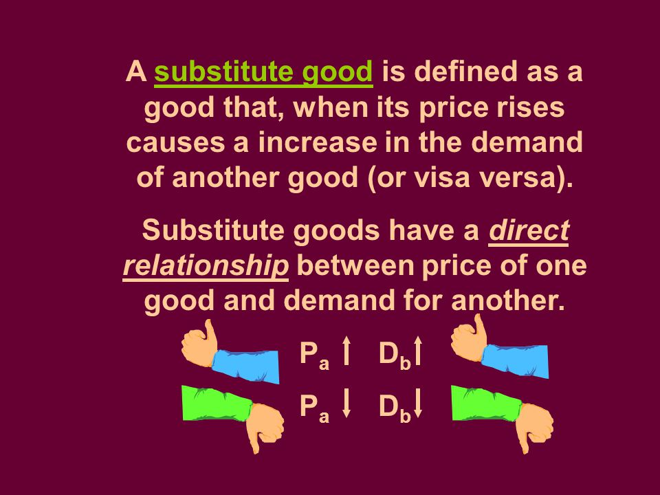 A substitute good is defined as a good that, when its price rises causes a increase in the demand of another good (or visa versa).